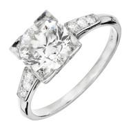 Antique Art Deco Engagement Ring Transitional Cut 1.62ct Platinum