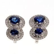 Designer Ed 2.43ct Gem Royal Blue 18k White Gold Sapphire Diamond Earrings