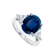 Vintage Cornflower Blue 4.75ct Oval Sapphire and Diamond Platinum Engagement Ring