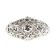 Antique Art Deco Filigree Ring .40ct 3 Diamond Platinum Top 18k White Gold Base