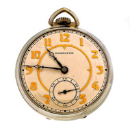 Art Deco Hamilton White Gold Filled Pocket Watch 1934