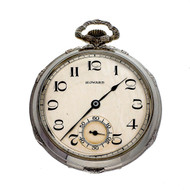 E. Howard Art Deco 14k White Gold Pocket Watch Open Face
