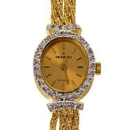 Movado 1990 14k White Gold Diamond Wrist Watch  4 Row Tinsel Band