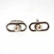 Vintage Estate 6mm Mikimoto Cultured Pearl Silver Cuff Links