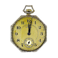 E. Howard Co Octagonal 1920 14k White Gold Pocket Watch