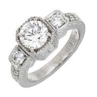 Art Deco Style Platinum Domed Three Stone Ring 1.27ct Hand Engraved