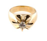 Estate Bold 1950s Solid Heavy Men's 14k Yellow Gold Round Diamond Round Ring