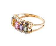 Vintage 1.50ct Oval Pastel Multicolor Sapphire .05CT Diamond Border 14k Ring