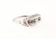 Vintage Estate Filigree Art Deco Flat Top Ring .03ct Diamond .10ct Sapphire 14k