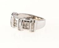 Vintage .65ct Princess Cut .56ct Baguette Cut Diamond Channel 14k Gold Ring