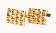 Vintage 1960s Solid Domed Rectangular 14k Yellow Gold Textured Woven Cuff Links