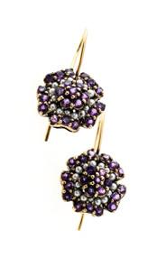 Vintage 1.70ct Round Amethyst 9k Pink Gold Wire 32 1mm Pearl Flower Earrings