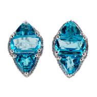 Fine Bright Blue Topaz 9.00ct SB 14k White Gold Diamond Clip Post Earrings