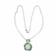 1980 Free Form Gray Green Quartz 14k White Gold Dangle Pendant Diamond