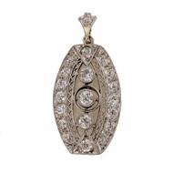 Antique Edwardian Art Deco Platinum Diamond .30ct 1900 Filigree Pendant
