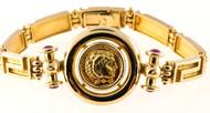 Vintage Greek Key Design Gold Coin 18k Gold Blood Red Cabochon Ruby Bracelet