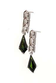 Antique Art Deco Platinum Dangle Earrings 2.02ct Kite Green Tourmaline