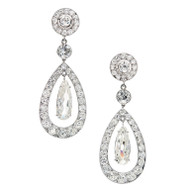 Cartier Paris Diamond Platinum Dangle Earrings c1900