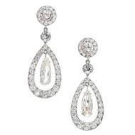 Cartier Paris Diamond Platinum Dangle Earrings c1900