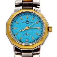 Ladies Baume & Mercier Riviera 18k Steel Watch Custom Colored Blue Dial
