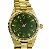 Ladies Geneve 18k Yellow Gold Watch Refinished Bright Green Custom Colored Dial