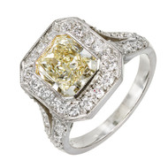 Vintage Yellow 2.06ct Cushion Radiant Diamond Bead Set Platinum Bezel Ring