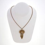 Antique Victorian 1875 Black Enamel Pearl Tassel 14k Yellow Gold Pendant