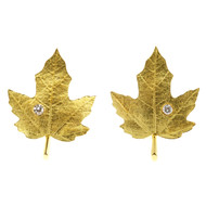 Vintage Tiffany + Co 18k Gold Diamond Textured Maple Leaf Non Pierced Earrings