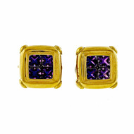 5.00ct Classic Amethyst Clip Post Italian Yellow Gold Earrings