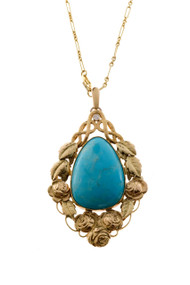 Victorian 1900 Natural Turquoise 14k Green Gold Flower Diamond Pendant and Chain