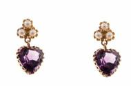 Vintage Six 3mm Pearl 7.85ct Heart Amethyst 14k Yellow Gold Dangle Earrings