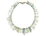 Vintage 505.00ct Natural Untreated Aqua Crystal Necklace 18k Yellow Gold Catch