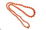 Vintage 24 Inch Natural Salmon Color Coral 11 To 5.6mm Graduated Necklace