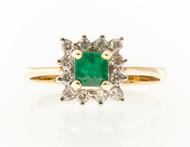 Estate 14k Yellow & White Gold Square Green Emerald Round Full Cut Diamond Ring