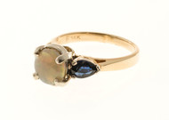 Estate Rare Top Gem Clear Crystal Red Opal & Blue Sapphire 14k 2 Tone Shank Ring