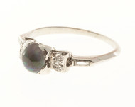 Estate 1920's Art Deco Platinum 1.94CT Gem Black Crystal Domed Opal Diamond Ring