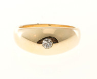 Vintage .07ct 14k Solid Yellow Gold Round Diamond Size 5 Ring Gypsy Dome