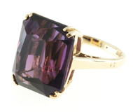 Vintage 16.02ct Asscher Cut Art Deco Reddish Purple Amethyst Pink Gold Ring