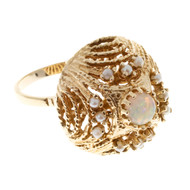 Estate 14k Yellow Gold 1960s Round Greenish Blue Opal & Akoya Pearl Dome Ring