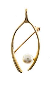 Estate Designer Tiffany & Co Wish Bone Fine High Luster Akoya Pearl Pin