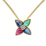 Estate 18k Gold Cabochon Sapphire Emerald Ruby Slide Pendant 18 1/2 Inch Chain