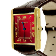 Cartier Tank Vermeil Quartz Strap Watch Custom Color Red Dial
