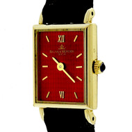 Baume & Mercier Ladies Gold Tank Strap Watch Vivid Red Dial