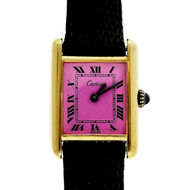 Cartier Ladies Gold Plated Silver Tank Watch Custom Colored Pink Dial