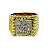 Vintage 1950's Men's 14k 1.50ct Square Impressive Diamond Ring