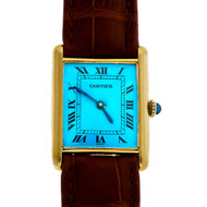 Cartier Tank Watch 17 Jewel Strap Custom Color Blue Dial