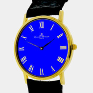 Baume & Mercier Ultra Thin 18k Gold Watch Quartz Custom Color Royal Blue Dial