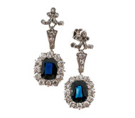 Vintage Earrings Victorian Natural 3.50ct Sapphire Platinum Diamond Dangle Earrings