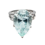 Pear Shaped Natural Aqua Diamond Platinum Ring<br><br>