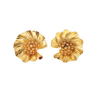 3-D Yellow Gold Flower Clip Earrings<br><br>
